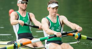 Mark O'Donovan and Shane O'Driscoll won the men's pairs on day two of the Irish Rowing Championships. Photo: EPA