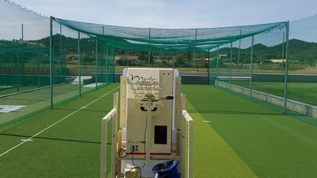 A Merlyn spin bowling machine set up at the European Cricket Performance Centre in La Manga. Photograph: Emmet Riordan