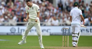 England bowler James Anderson celebrates dismissing Heino Kuhn of South Africa during their second innings on  day two of the second Test match  at Trent Bridge  in Nottingham. Photograph: Gareth Copley/Getty Images