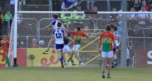 Monaghan's Fintan Kelly scores his side's goal in the All-Ireland Senior Football Championship Round 3B qualifier against Carlow at  Netwatch  Cullen Park. Photograph: Donall Farmer/Inpho