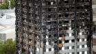 A general view shows the Grenfell Tower, which was destroyed in a  fire in which at least 80 people died.  Photograph: Reuters
