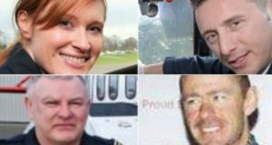 Helicopter crew (clockwise): Capt Dara Fitzpatrick, Mark Duffy, Ciarán Smith and Paul Ormsby. It is four months since their helicopter crashed off the north Mayo coast with the loss of all four crew members