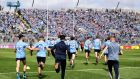 Dublin players run towards the Hill after their victory in the Leinster MHC final. Photograph: Tommy Dickson/Inpho