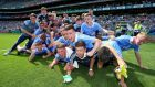 Dublin celebrate their victory over Louth in the Leinster final at Croke Park. Photograph: Tommy Dickson/Inpho
