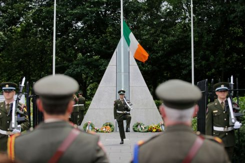 NEW GUARD: Lt Duffy, 27th infantry battalion Dundalk, officer in charge of the new guard at the changing of the guard at the National Monument to commemorate members of the Defence Forces who died in the service of the State at Merrion Square, Dublin. Photograph Nick Bradshaw