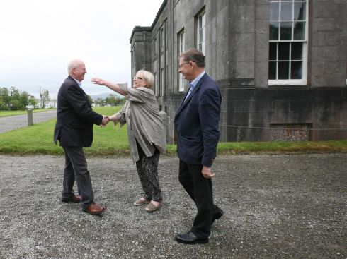 HEARTY WELCOME: Senator Michael McDowell, grandson of Irish revolutionary Eoin McNeill; Sile de Valera, and Eamon O'Cuiv, grandchildren of former president, Eamon de Valera pictured at Lissadell House, Co Sligol for Markievicz Day which celebrated the life of Countess Markievicz on the 90th anniversary of her death. Photograph: Brian Farrell