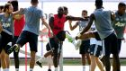 Romelo Lukaku of Manchester United stretches with teammates during training  in Los Angeles. Photograph: Harry How/Getty Images