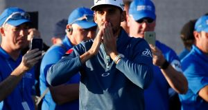 Rafa Cabrera-Bello of Spain salutes the crowd following his victory at Dundonald Links. Photograph: Getty Images
