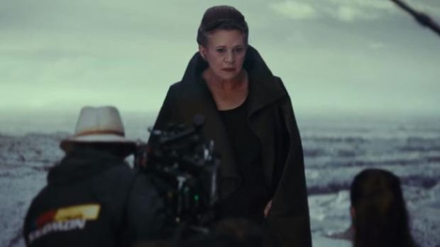 Carrie Fisher in the new promo for Star Wars: The Last Jedi. Photograph: YouTube