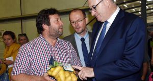 Phil Hogan who was honoured by Austria today. Here he is pictured with a French potato producer earlier this month. Photograph: Mehdi Fedouach/Getty