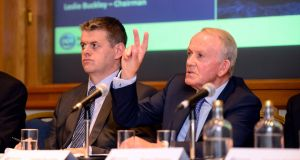 INM chief executive Robert Pitt, left, and chairman Leslie Buckley. Photograph: Cyril Byrne