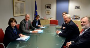 Brexit minister David Davis (2-R) with EU chief negotiator  Michel Barnier (2-L)  during their meeting at the European Union Commission headquarter in Brussels. Photograph: Thierry Charlier/EPA