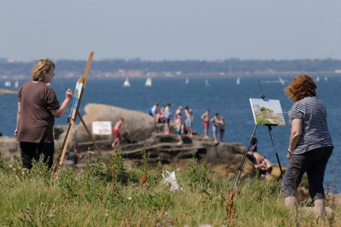 POINT OF VIEW: Artists enjoy the views at Sandycove, Co Dublin. Photograph: Nick Bradshaw