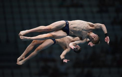 IN THE AIR: Steele Johnson and Brandon Loschiavo of the US compete at the 2017 FINA World Championships, in Budapest, Hungary. Photograph: Laurence Griffiths/Getty Images