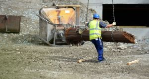 Building workers could see their wages rise by 10 per cent if the Oireachtas approves a Labour Court recommendation on pay in the industry.  Photograph: Dara Mac Dónaill / The Irish Times