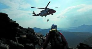 Irish Coast Guard Dublin-based helicopter Rescue 116 on a call-out with the Mourne Mountain Rescue Team in Co Down on May 29th, 2016. Photograph: Mourne Mountain Rescue Team