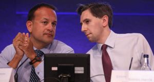 Taoiseach Leo Varadkar and Minister for Heath Simon Harris at the launch in Dublin Castle of the State's new national strategy on drug and alcohol use. Photograph: Collins