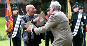 Brian Murphy interrupted a televised 1916 commemoration service for members of the British army, held at Grangegorman military cemetery, on May 26th, 2016. Photograph: Eric Luke / The Irish Times
