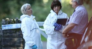 State pathologist, Dr Marie Cassidy at the scene at Coolmine Woods. Photograph: Collins Photos