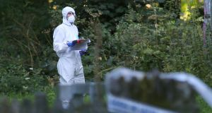 Member of the Garda forensics team at the scene at Coolmine Woods. Photograph: Collins Photos