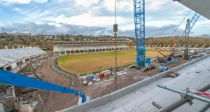 The construction at Páirc Uí Chaoimh last year – the renovated stadium will open this weekend. Photograph: Michael Mac Sweeney/Provision