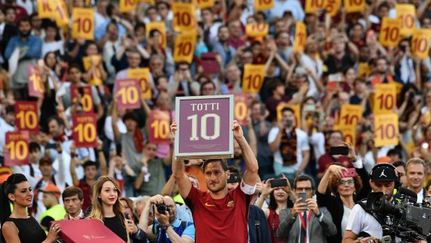 Francesco Totti after his final appearance for Roma against Genoa in May. Photograph: Vincenzo Pinto/AFP