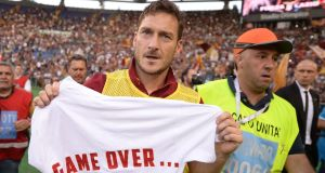 Francesco Totti has confirmed his retirement from playing after accepting a director's job at AS Roma. Photograph: Filippo Monteforte/AFP