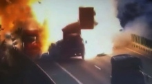 Dramatic blast captured on video as trucks collide in China
