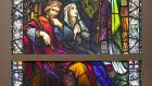 Stained-glass image, St Patrick Our National Apostle – Pray For Us, on show at Fonsie Mealy Auctioneers
