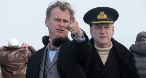 Director Christoper Nolan on the set of Dunkirk  with Kenneth Brannagh