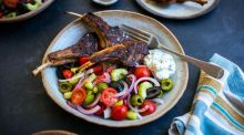 Spiced barbecued lamb chops with tzatziki & Greek salad