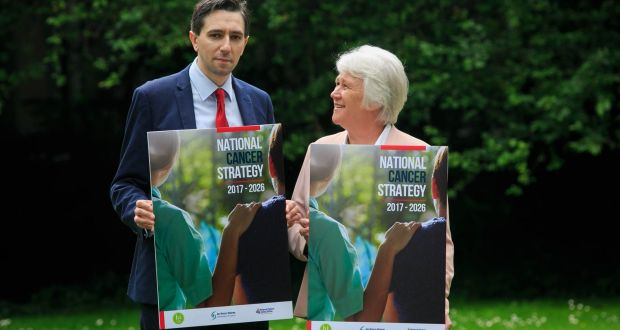 The Minister for Health, Simon Harris, and Minister of State for Health Promotion, Catherine Byrne, during the launch of a new 'National Cancer Strategy 2017-2026' at Iveagh House, Dublin. Photograph: Gareth Chaney Collins