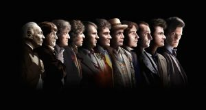 Doctor Who actors (from left) William Hartnell, Patrick Troughton, Jon Pertwee, Tom Baker, Peter Davison, Colin Baker, Sylvester McCoy, Paul McGann, Christopher Eccleston, David Tennant and Matt Smith, as Peter Capaldi is preparing to hand over the role of the Doctor to Jodie Whittaker, the 13th actor – and the first woman – to play the part. Photograph: BBC/PA Wire