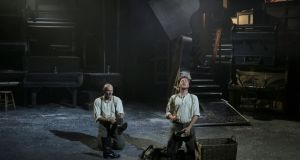 Patrick O'Kane as Woyzeck and Shane O'Reilly as Andres in Woyzeck in Winter, which  opened at the Black Box Theatre  as part of the Galway International Arts Festival.  Photograph:  Colm Hogan