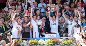 Sean Cavanagh  lifts the cup after Tyrone win the Ulster championship. Of the four provincial champions, only Tyrone had  to play a Division One team along the way. Photograph: INPHO/Presseye/Philip Magowan