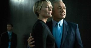 Kevin Spacey and Robin Wright in Netflix's House of Cards. Michael Dobbs, author of the House of Cards novel, will speak at an event in Cork later this month. Photograph: Netflix