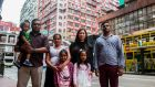 The refugee families in Hong Kong, China, on Monday. Photograph: Isaac Lawrence/AFP/Getty Images