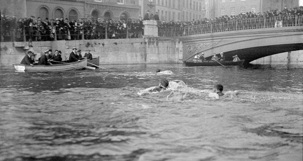 de2fb479bc595 Competitors in the Lee Swim nearing the old North Gate Bridge, circa 1910.  Photograph