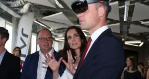 The Duke and Duchess of Cambridge both put on the goggles of foolishness at a tech business incubator in Warsaw, Poland. Photograph: Ian Vogler/Getty Images