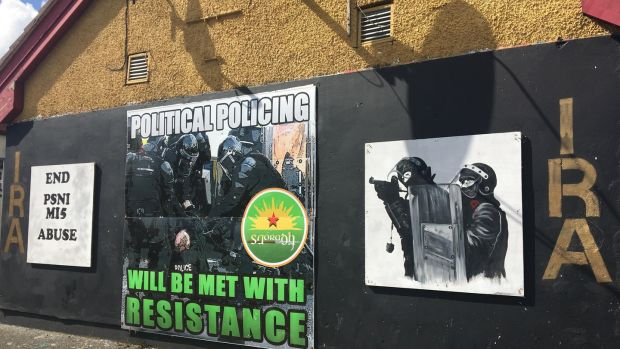 Anti-PSNI graffiti in Derry. The PSNI recorded 23 casualties of paramilitary-style shootings in the 12 months until the end of June.
