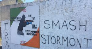 Graffiti in Derry. The PSNI recorded  23 casualties of paramilitary-style shootings in the 12 months until the end of June.
