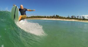 Andy Burke on the water in Byron Bay, Australia