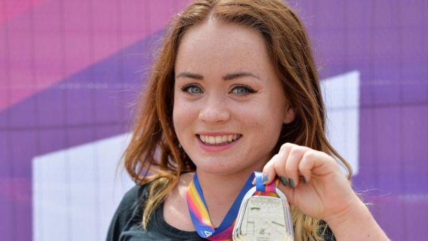 Niamh McCarthy with her silver medal in the 2017 Para Athletics World Championships Day 3 at the Olympic Stadium in London. Photograph: Luc Percival/Sportsfile