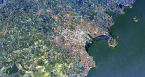 Dublin from space: a radar image distinguishes between densely populated urban areas and relatively unsettled areas on the edge of the city. Photograph: Nasa