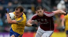 Roscommon's Enda Smith gets away from Galway's Thomas Flynn during the Connacht final at Pearse Stadium. Photograph: Bryan Keane/Inpho
