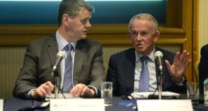 INM chief executive Robert Pitt, left, and chairman Leslie Buckley: the board is riven by conflict when it needs to be united. Photograph: Cyril Byrne