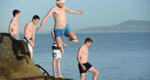 Christmas Day swimmers at the Forty Foot. Photograph: Frank Miller