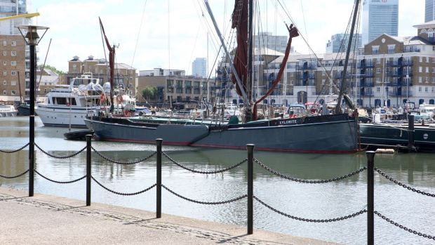 Xylonite: the Dunkirk boat is moored at Limehouse Basin, in London