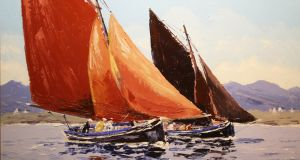 Lot 15, 'Galway Hookers, Roundstone Bay' by Ivan Sutton, sold for €1,200 in de Veres online auction