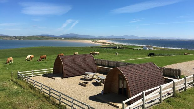 Camping pods: the journey to the old Belmullet Coast Guard station, on Claggan Island, is an adventure in itself